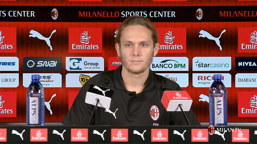 Alen Halilović during a press conference at Milanello on July 10, 2018. (@acmilan.com)
