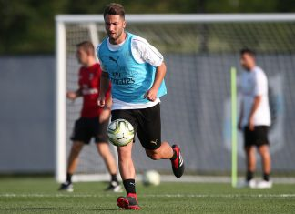 Andrea Bertolacci during training. (@acmilan.com)