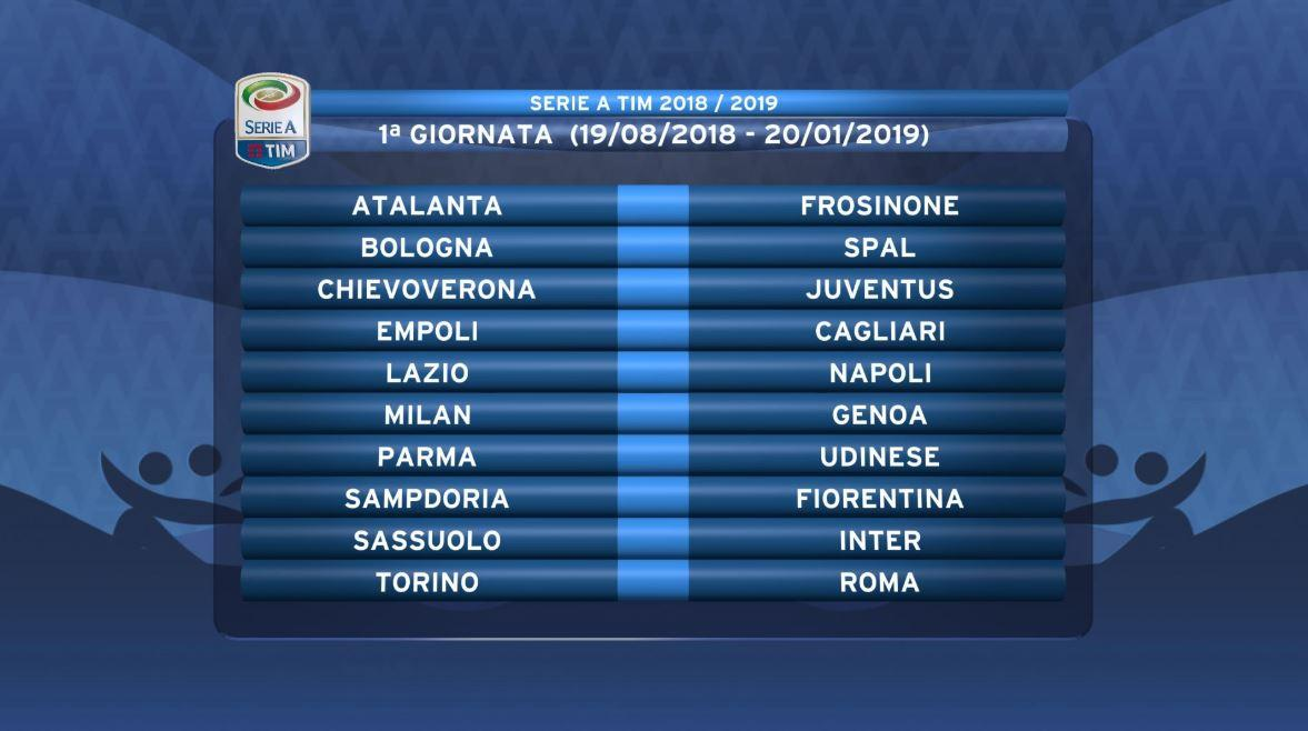 Spal Calendario.Serie A 2018 19 Calendar Milan Start Against Genoa Napoli