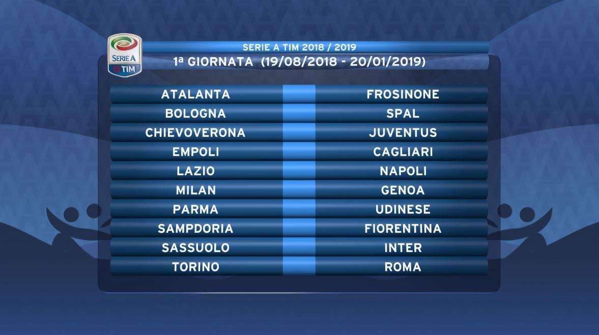 Serie A Tim Calendario.Serie A 2018 19 Calendar Milan Start Against Genoa Napoli