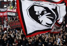 Milan fans during Atalanta-Milan at Stadio Atleti Azzurri d'Italia on May 13, 2018. (@acmilan.com)