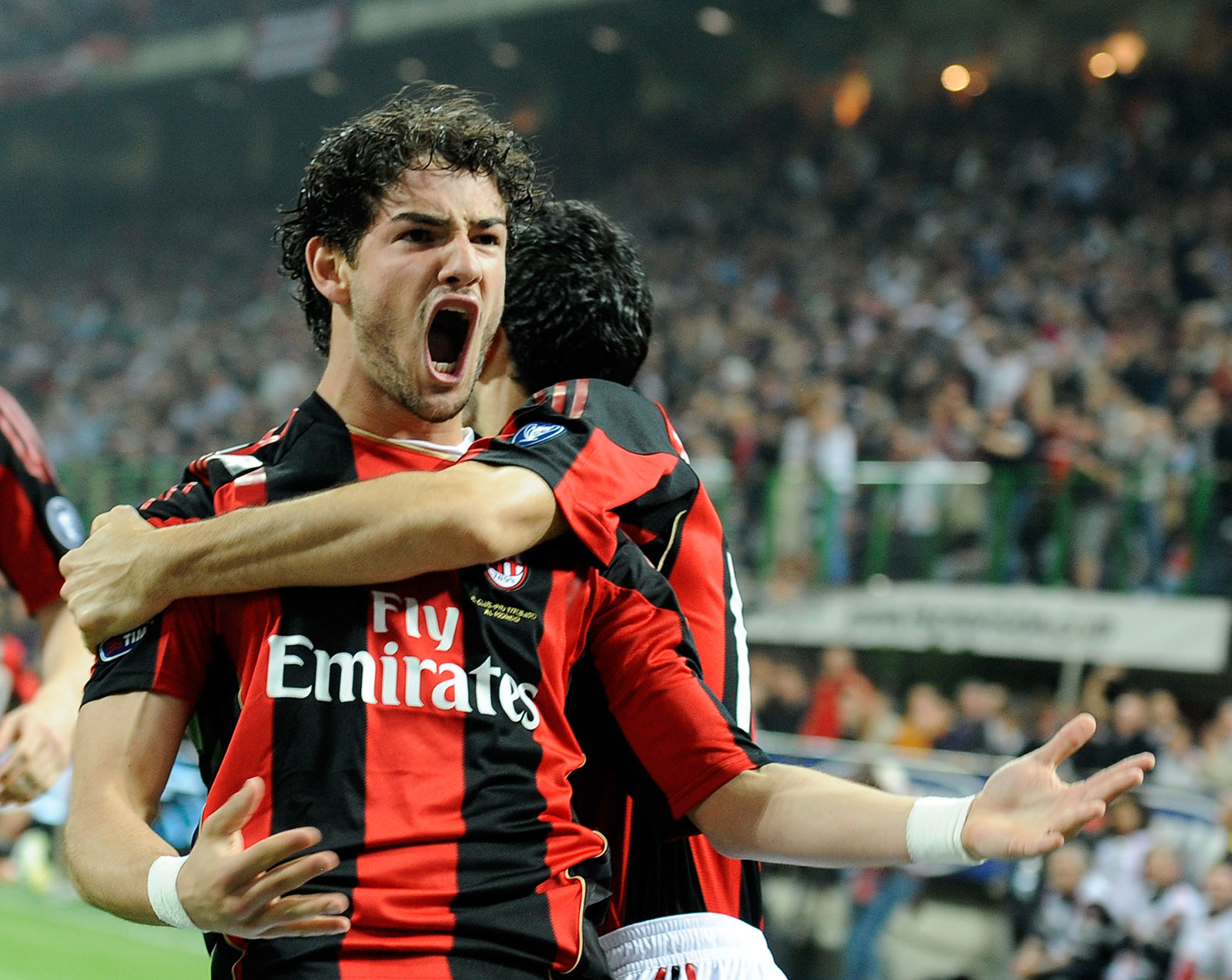 Alexandre Pato celebrating during Milan-Inter at Stadio San Siro on April 2, 2011. (Photo by Claudio Villa/Getty Images)
