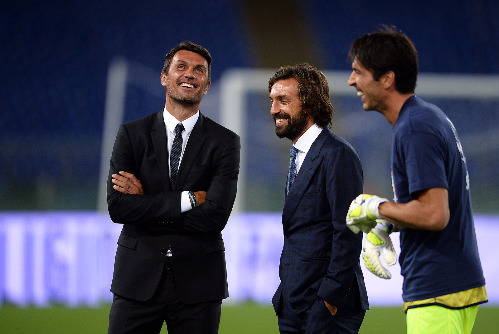 Paolo Maldini, Andrea Pirlo and Gianluigi Buffon during the 'Match for Peace' game at Stadio Olimpico. (FILIPPO MONTEFORTE/AFP/Getty Images)