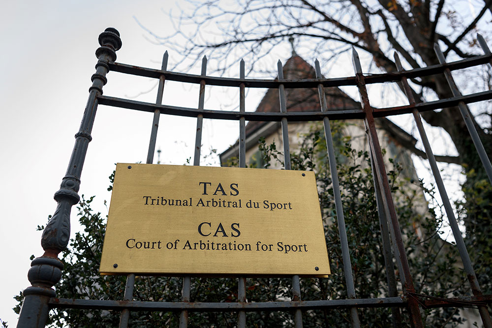 The entrance of the Court of Arbitration for Sport (CAS) on November 15, 2017 in Lausanne. (FABRICE COFFRINI/AFP/Getty Images)