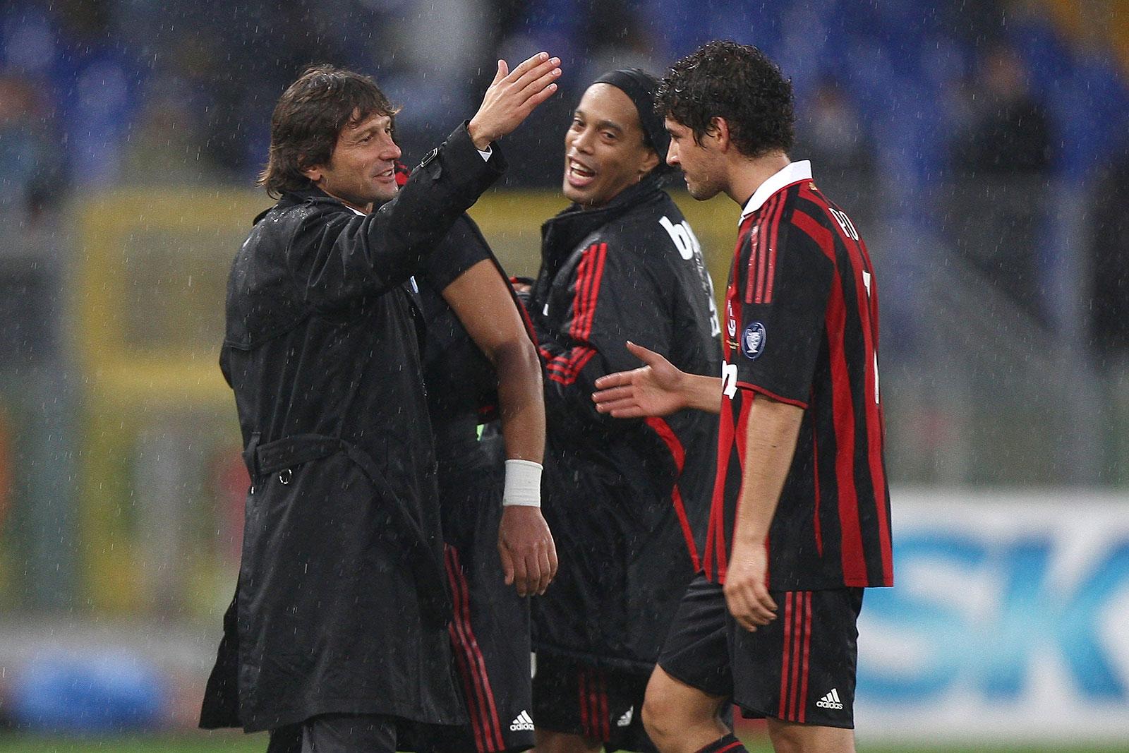 Leonardo, Pato and Ronaldinho celebrating at the end ofLazio-Milan at Stadio Olimpico on November 8, 2009. (Photo by Paolo Bruno/Getty Images)