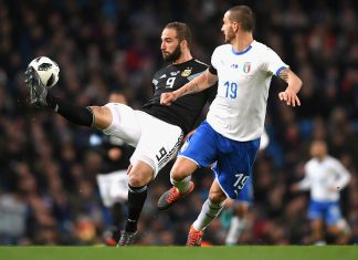 Gonzalo Higuain and Leonardo Bonucci during Italy-Argentina at Etihad Stadium on March 23, 2018. (Photo by Laurence Griffiths/Getty Images)