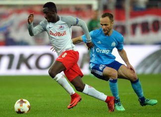 Diadie Samassékou and Valere Germain during the Salzburg-Marseille UEFA Europa League semi-final second leg at the Red Bull Arena Salzburg on May 3, 2018. (VLADIMIR SIMICEK/AFP/Getty Images)