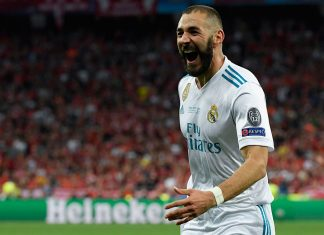 Karim Benzema celebrating during the Liverpool-Real Madrid UEFA Champions League final at Olimpiyskiy National Sports Complex on May 26, 2018. (LLUIS GENE/AFP/Getty Images)