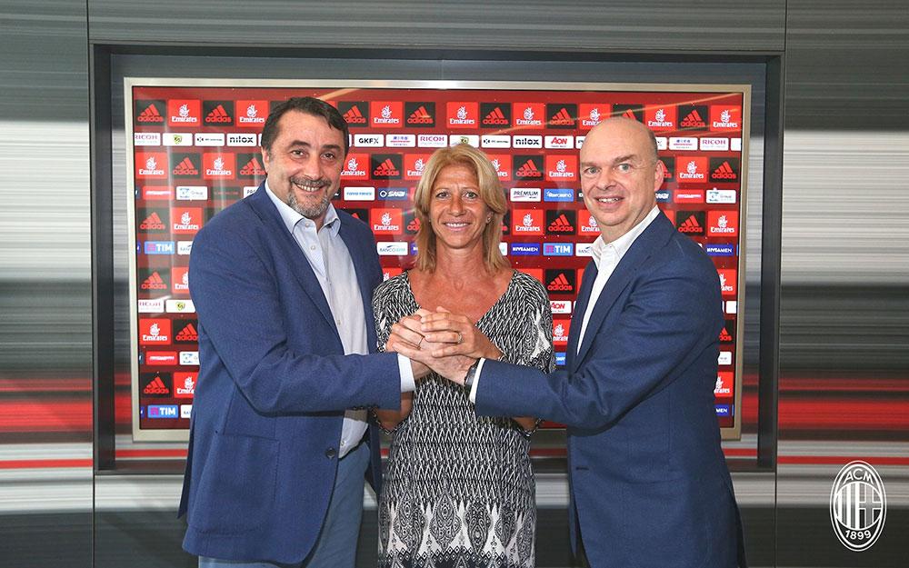 Massimiliano Mirabelli, Carolina Morace, and Marco Fassone at Casa Milan. (acmilan.com)