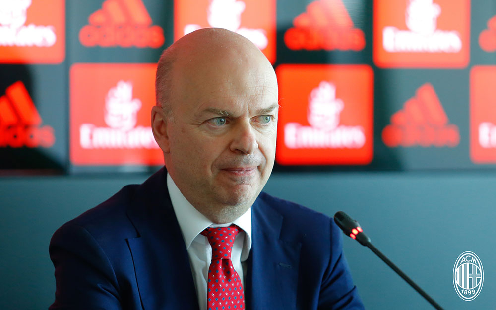 Marco Fassone during a press conference at Casa Milan on the 5th of July, 2017. (@acmilan.com)