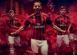 Giacomo Bonaventura, Patrick Cutrone, Leonardo Bonucci, Alessio Romagnoli and Hakan Çalhanoğlu modeling the new 2018/19 home kit. (@acmilan.com)