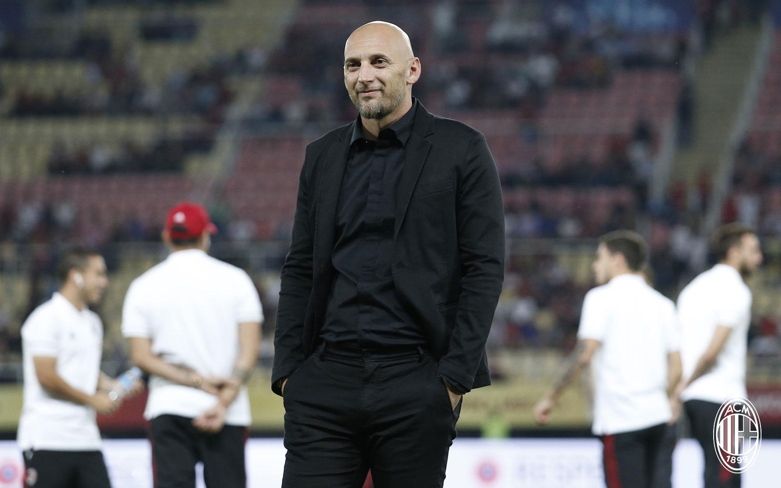 Christian Abbiati before Shkëndija-Milan Milan at the Philip II Arena on the 24th of August, 2017. (@acmilan.com)