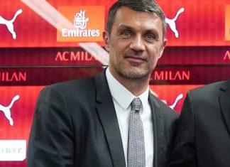 Paolo Maldini, Tiémoué Bakayoko, Leonardo and Paolo Scaroni during Bakayoko's presentation at Casa Milan on August 17, 2018. (@acmilan.com)