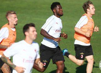 Franck Kessie, Samu Castillejo, Alen Halilović and Alessio Romagnoli during training at Milanello. (@acmilan.com)