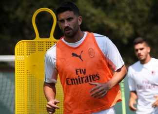 Mateo Musacchio during training the in USA. (@acmilan.com)