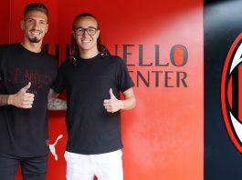 Samu Castillejo Diego Laxalt at training center Milanello on August 17, 2018. (@acmilan.com)