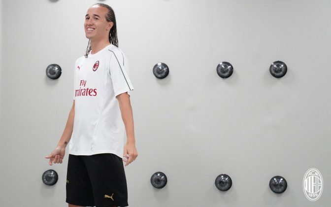 Diego Laxalt at training center Milanello on August 17, 2018. (@acmilan.com)