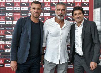 Andriy Shevchenko, Mauro Tassotti and Leonardo at Casa Milan on August 3, 2018. (@acmilan.com)