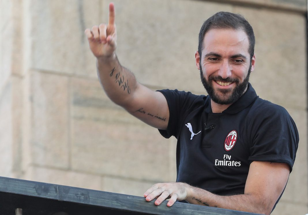 Gonzalo Higuain at the Piazza del Duomo on August 3, 2018. (/AFP/Getty Images)
