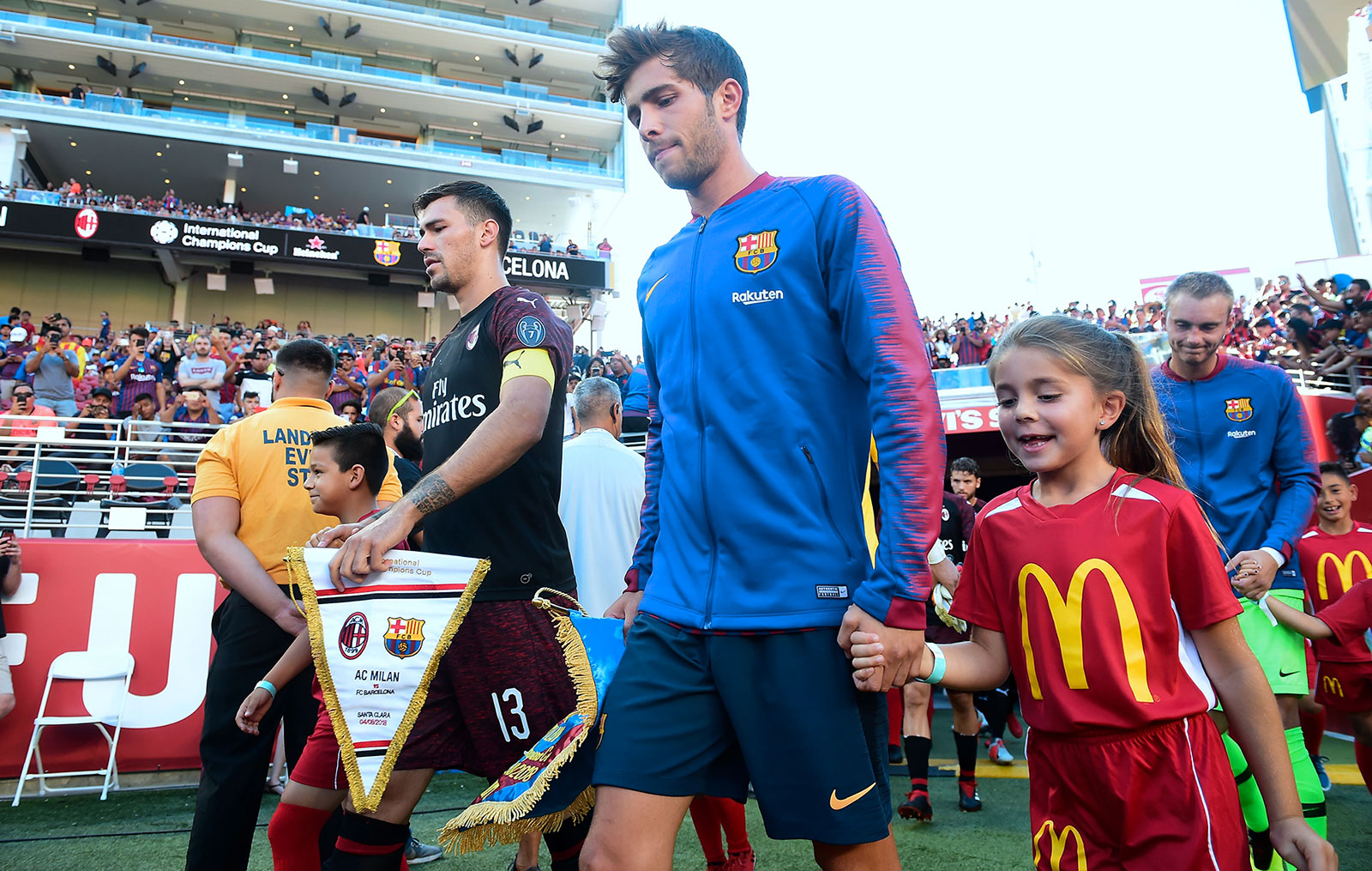 Alessio Romagnoli and Sergi Roberto before Barcelona-Milan at Levi's Stadium on August 5, 2018. (FREDERIC J. BROWN/AFP/Getty Images)