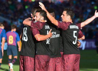André Silva, Hakan Çalhanoğlu, Franck Kessié and Giacomo Bonaventura celebrating during Barcelona-Milan at Levi's Stadium on August 5, 2018. (FREDERIC J. BROWN/AFP/Getty Images)