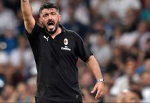 Gennaro Gattuso during Real Madrid-Milan at Estadio Santiago Bernabéu on August 11, 2018. (GABRIEL BOUYS/AFP/Getty Images)