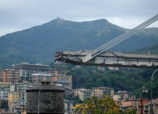 The Ponte Morandi motorway bridge in Genoa on August 14, 2018. (ANDREA LEONI/AFP/Getty Images)