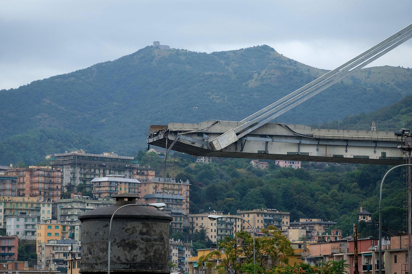 The Ponte Morandi motorway bridge in Genoa on August 14, 2018. (ANDREA LEONI/AFP/Getty Images)