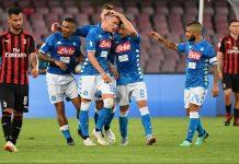 Piotr Zielinski celebrating with Allan, Mario Ruim Arkadiusz Milik and Lorenzo Insigne celebrating during Napoli-Milan at Stadio San Paolo on August 25, 2018. (ALBERTO PIZZOLI/AFP/Getty Images)