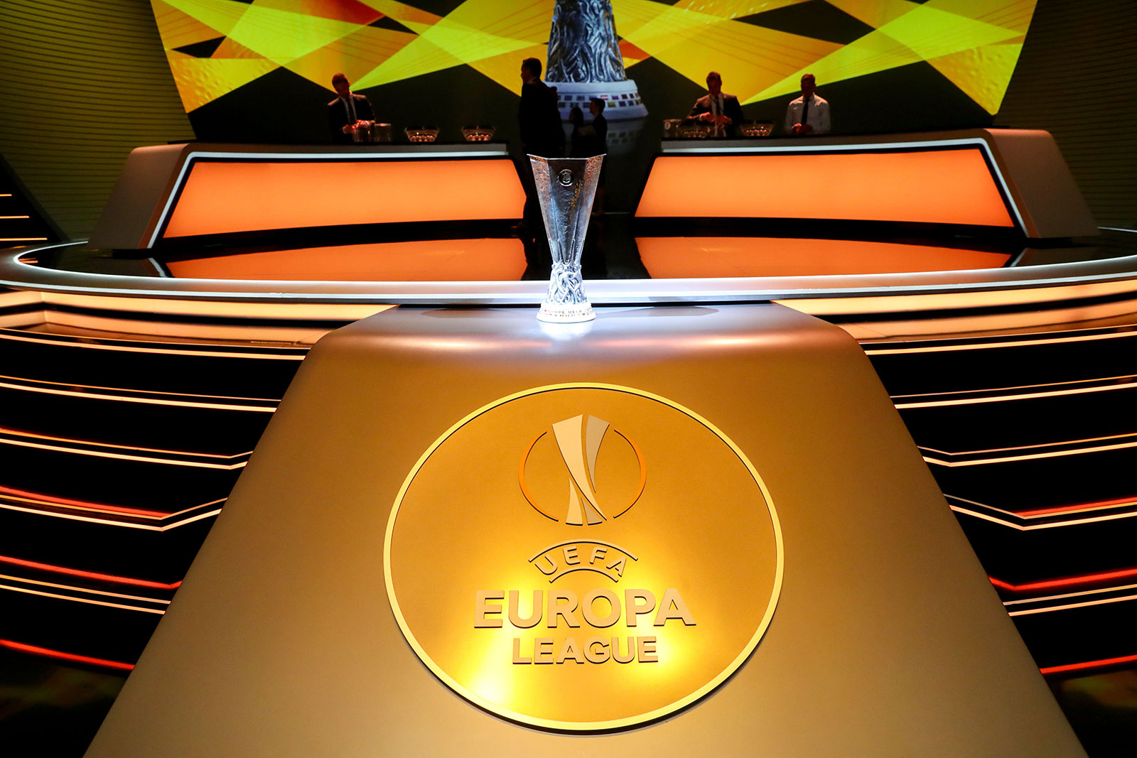 UEFA Europa League Trophy displayed during the draw for UEFA Europa League football tournament at The Grimaldi Forum in Monaco on August 31, 2018. (Photo by Valery HACHE / AFP) (Photo credit should read VALERY HACHE/AFP/Getty Images)
