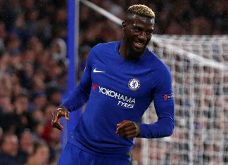 Tiemoue Bakayoko celebrating during Chelsea-Qarabag at Stamford Bridge on September 12, 2017. (Photo by Clive Rose/Getty Images)