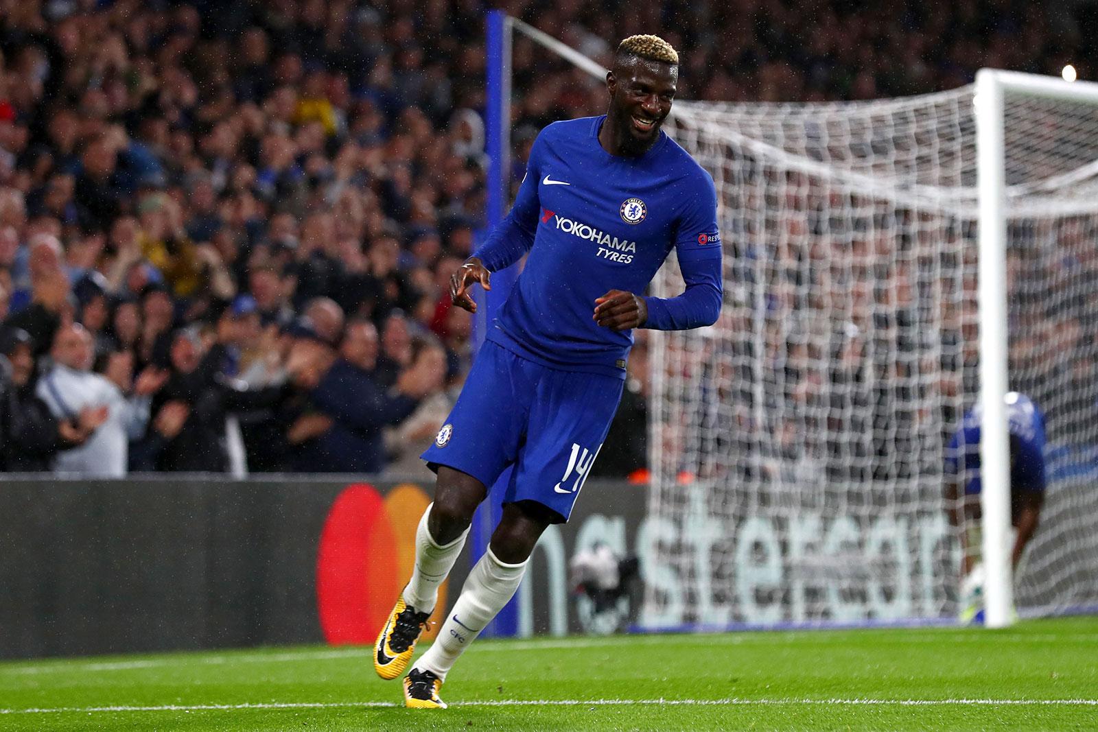 Tiemoue Bakayoko celebrating during Chelsea-Qarabag at Stamford Bridge on September 12, 2017. (Photo by Clive Rose/Getty Images)