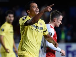 Carlos Bacca celebrating during Villarreal-Slavia Prague at Estadio de la Cerámica on October 19, 2017. (JOSE JORDAN/AFP/Getty Images)