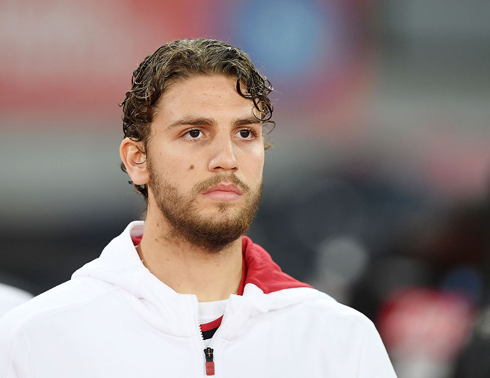Manuel Locatelli before Napoli-Milan at Stadio San Paolo on November 18, 2017. (Photo by Francesco Pecoraro/Getty Images)