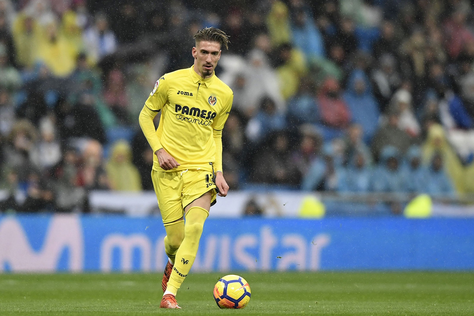Samu Castillejo during Real Madrid-Villarreal at Estadio Santiago Bernabéu on January 13, 2018. (GABRIEL BOUYS/AFP/Getty Images)