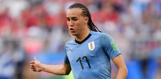 Diego Laxalt during the Russia-Uruguay 2018 World Cup match at Samara Arena on June 25, 2018. (FABRICE COFFRINI/AFP/Getty Images)