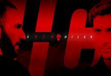 Gonzalo Higuain and Mattia Caldara's announcement poster. (@acmilan.com)