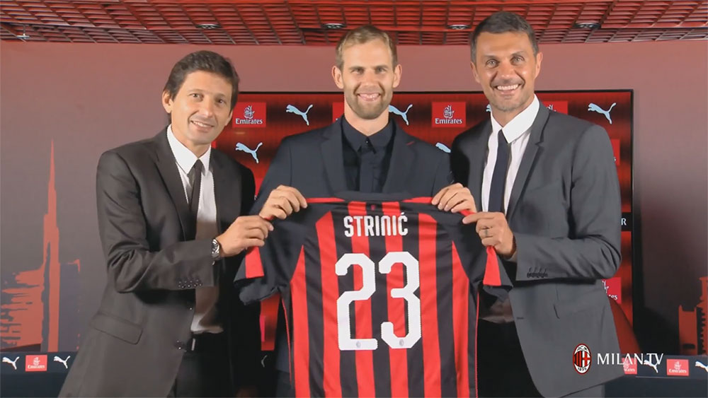 Leonardo, Ivan Strinić and Paolo Maldini during the presentation at Milanello of Milan's new #23 on August 10, 2018. (@acmilan.com)