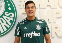 Gustavo Gomez presented by Palmeiras. (@palmeiras.com)