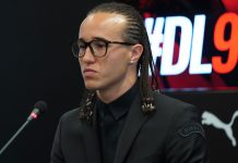 Diego Laxalt during his presentation at Casa Milan on August 17, 2018. (@acmilan.com)