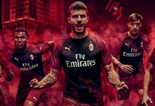 Davide Calabria, Franck Kessié, Patrick Cutrone, Alessio Romagnoli and Manuel Locatelli modeling the new 2018/19 third kit. (@acmilan.com)