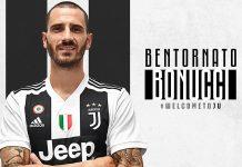 Leonardo Bonucci's return announcement poster. (@juventus.com)