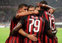 Mateo Musacchio, Franck Kessié, Davide Calabria, Lucas Biglia and Alessio Romagnoli celebrating during Milan-Roma at Stadio San Siro on August 31, 2018. (@acmilan.com)