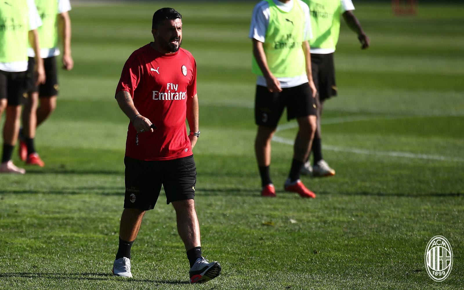Gennaro Gattuso during training at Milanello. (@acmilan.com)