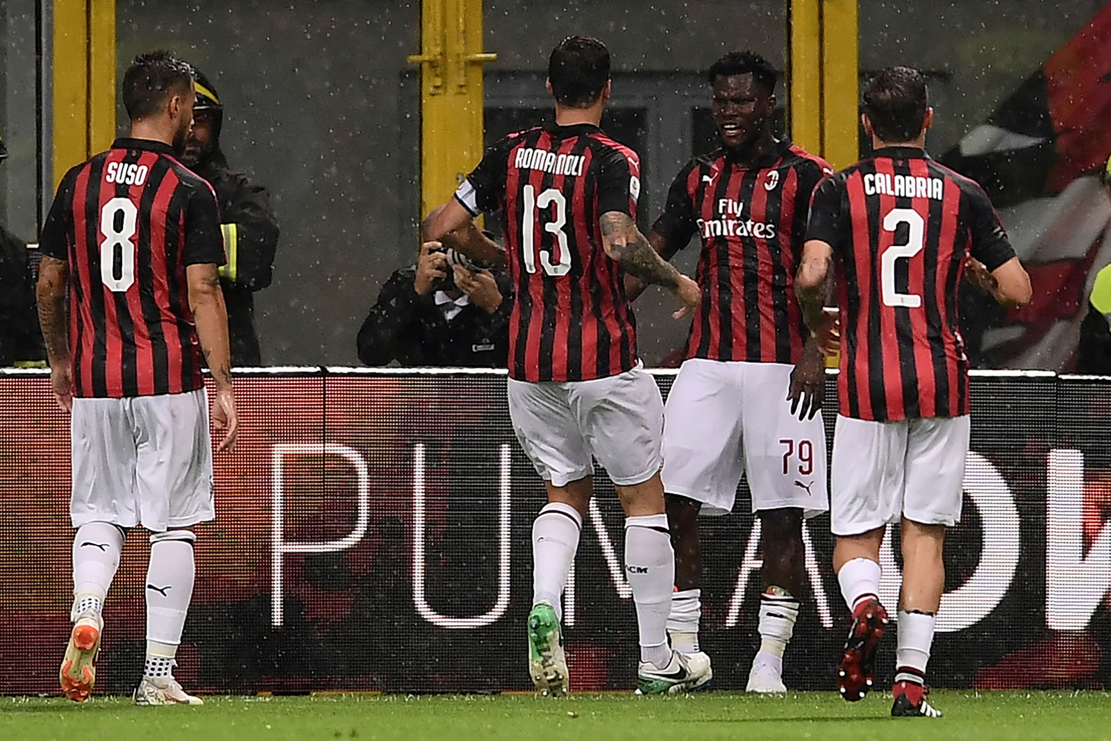 Suso, Alessio Romagnoli, Franck Kessié and Davide Calabria celebrating during Milan-Roma at Stadio San Siro on August 31, 2018. (MARCO BERTORELLO/AFP/Getty Images)