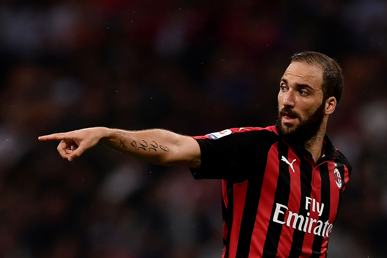 Gonzalo Higuain during Milan-Roma at Stadio San Siro on August 31, 2018. (MARCO BERTORELLO/AFP/Getty Images)