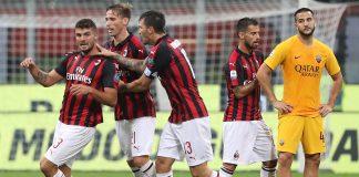 Patrick Cutrone, Lucas Biglia, Alessio Romagnoli and Suso celebrating during Milan-Roma at Stadio San Siro. (Photo by Marco Luzzani/Getty Images)