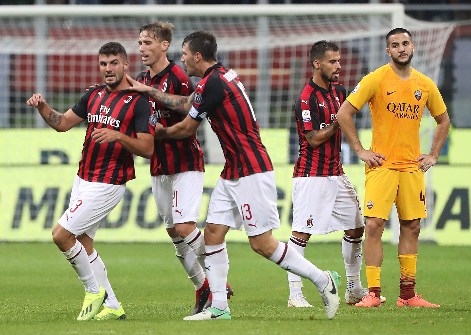 Patrick Cutrone, Lucas Biglia, Alessio Romagnoli and Suso celebrating during Milan-Roma at Stadio San Siro. (Photo by Marco Luzzani/Getty Images)