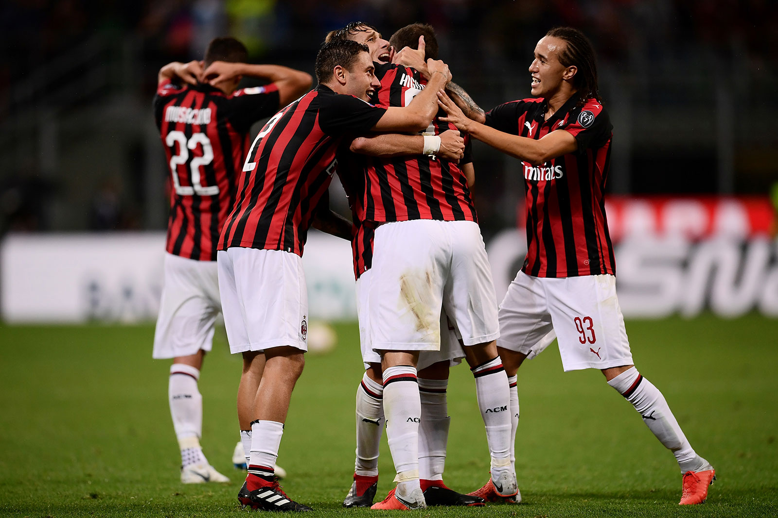 Davide Calabria, Lucas Biglia, Gonzalo Higuain and Diego Laxalt celebrating during Milan-Roma at Stadio San Siro on August 31, 2018. (MARCO BERTORELLO/AFP/Getty Images)