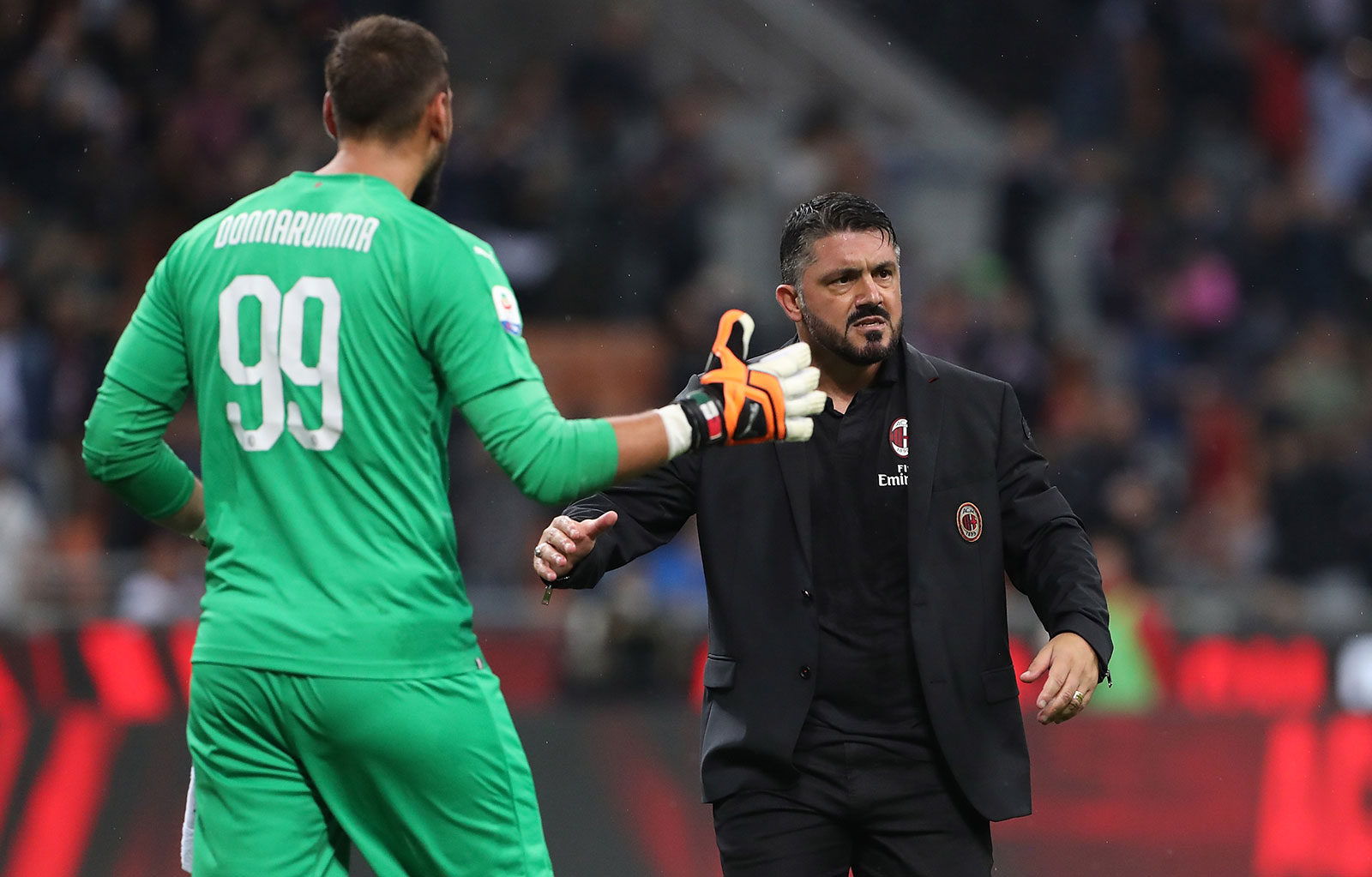 Gennaro Gattuso and Gianluigi Donnarumma at the end of Milan-Roma at Stadio San Siro on August 31, 2018. (Photo by Marco Luzzani/Getty Images)